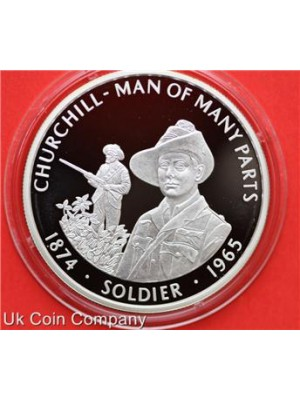 2005 Falkland Islands Churchill Soldier Silver Proof Fifty Pence Crown Coin